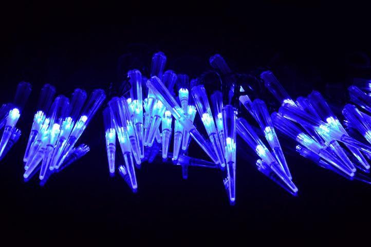 Vianočné dekoratívne cencúle, 60 LED, modré