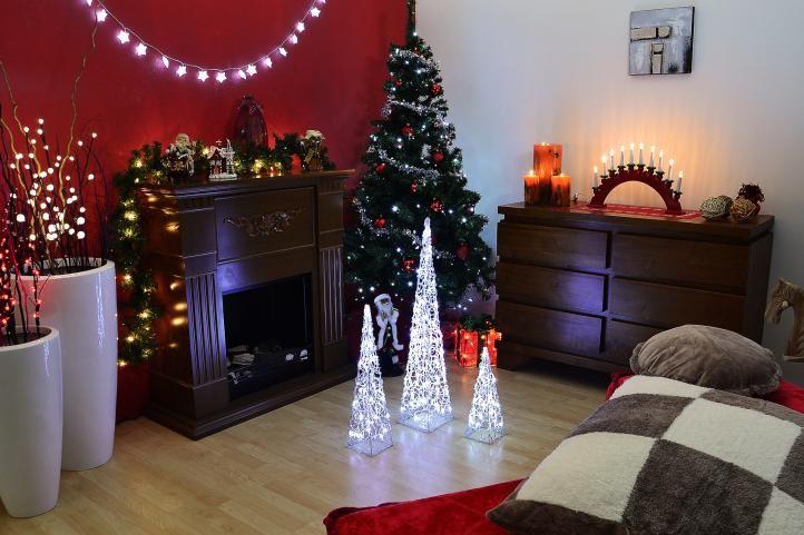 Vianočný akrylový ihlan 60 cm - studeno biely, do zásuvky