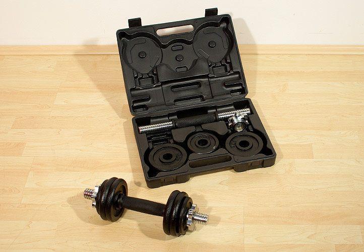 Garthen 13 Profi set 2 činky v kufříku 7,5 kg litina 35,5 cm