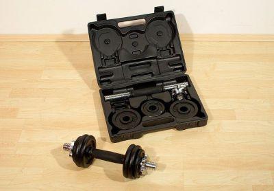 Profi set 2 činky v kufríku 7,5 kg liatina 35,5 cm