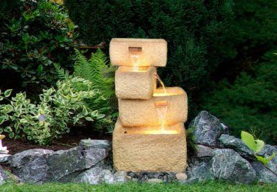 Záhradná fontána - fontána so 4 kamennými žľaby, čerpadlom a osvetlením