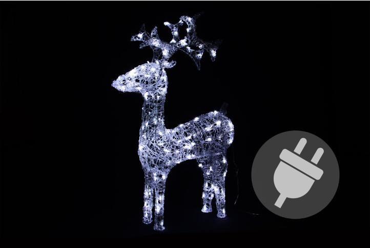 Svetelná dekorácia vianočný sob - 100 cm, studeno biely