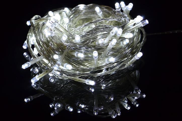 Vianočná LED reťaz - 10 m, 100 diód, studeno biela