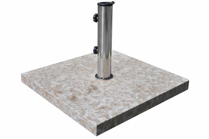 Stojan na slnečník z mramoru a ušľachtilej ocele, štvorcový, 25 kg