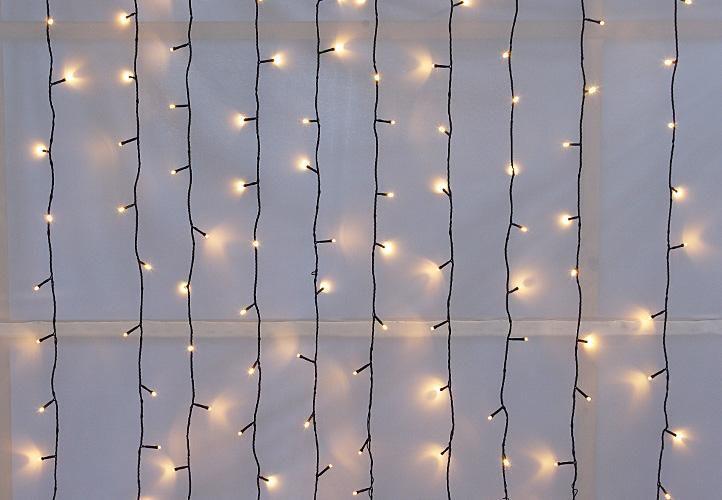 diLED  svetelný záves - 200 LED teplá biela