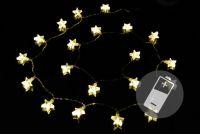 Vianočná svetelná reťaz - hviezdy, teple biela