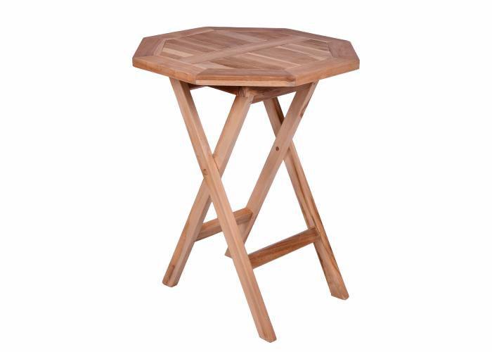 DIVERO záhradný stolík z teakového dreva, Ø 60cm