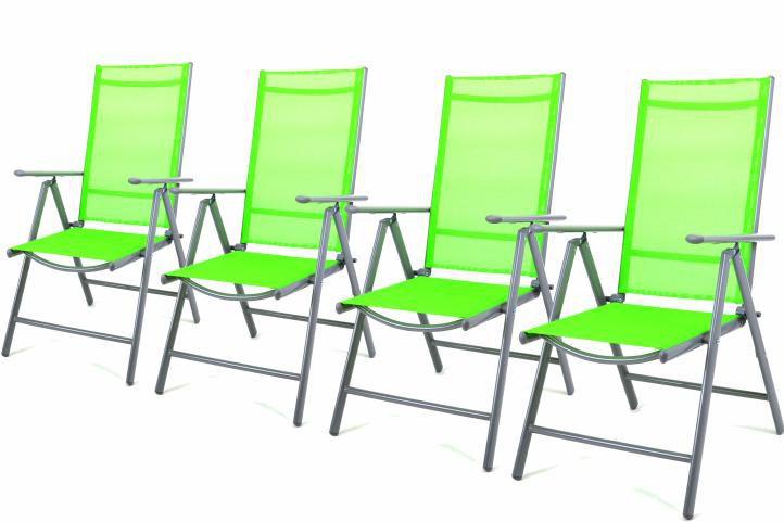 Sada 4 hliníkových skladacích stoličiek Garth - zelená
