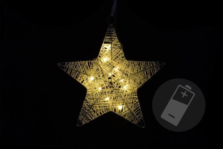 Vianočná dekorácia - hviezda, 25 cm, 10 LED diód