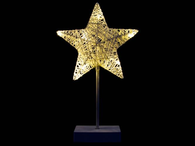 Vianočná dekorácia - hviezda na stojančeku, 40 cm, 10 LED
