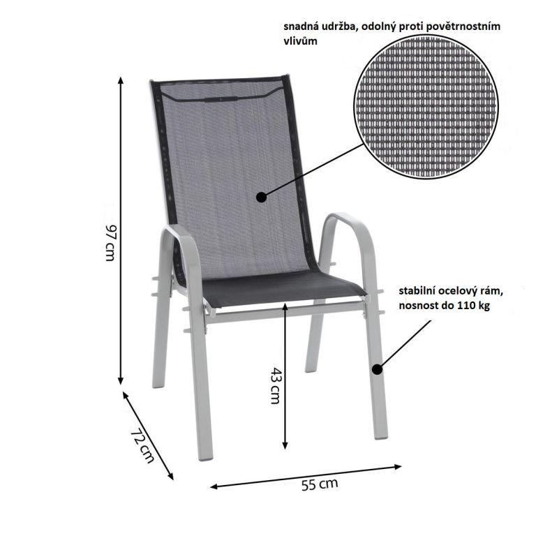 Záhradná stolička stohovateľná s vysokým operadlom