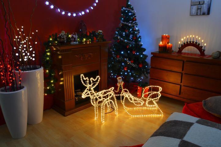 Svetelná dekorácia vianočný sob - 140 cm, teple biely