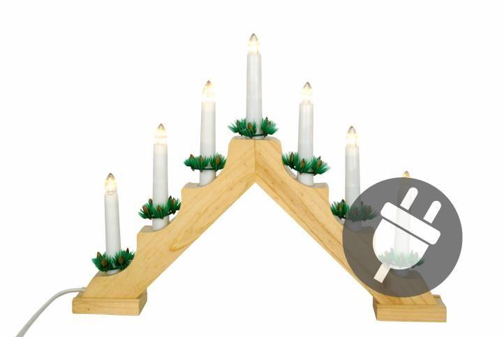 Vianočná dekorácia - drevený svietnik, 7 LED diód