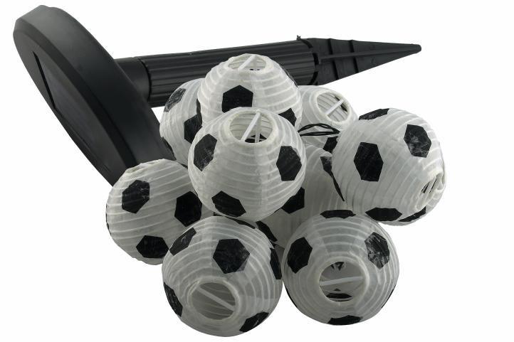 Solárny záhradný párty lampión - 10 x futbalová lopta