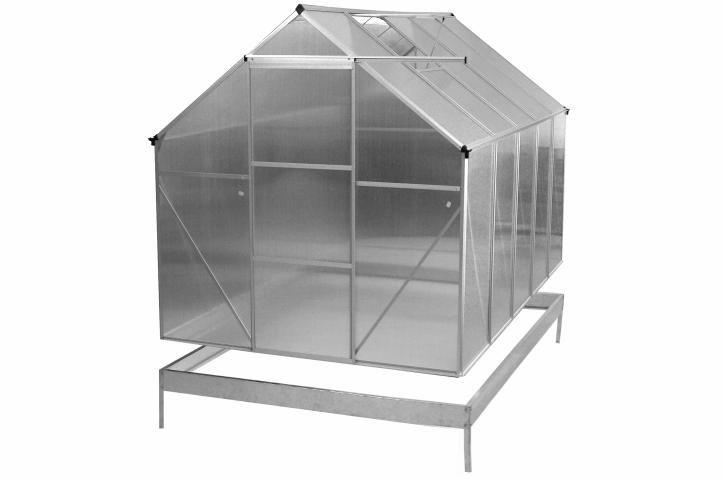 ALU skleník 250 x 190 x 195 cm – s kompletným podstavcom, bez základne