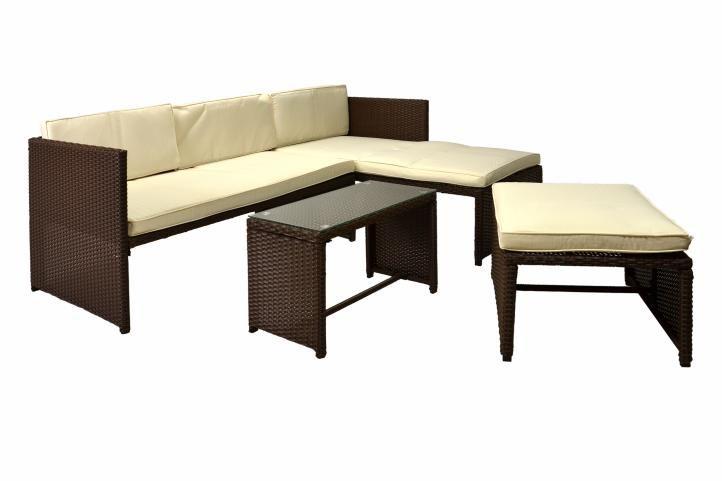 Exkluzívny záhradný polyratanový set, hnedý