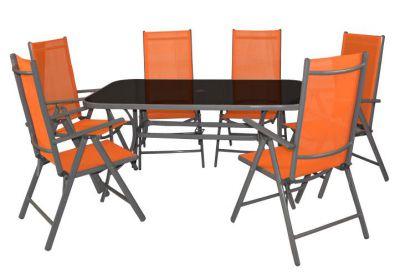 Záhradný set GARTHEN, oranžový 7 ks