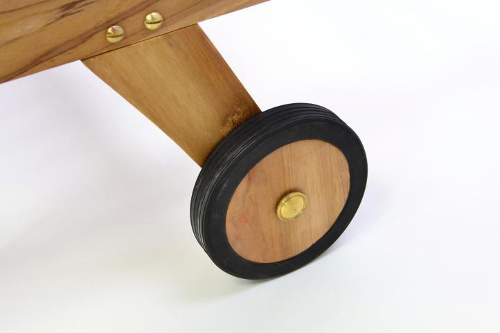DIVERO záhradné ležadlo z teakového dreva s kolieskami