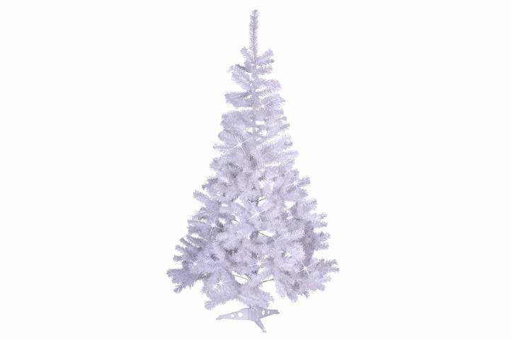Umelý vianočný strom s trblietavým efektom - 150 cm, biely