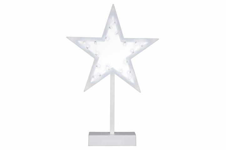 Vianočná dekorácia - hviezda na stojančeku, 38 cm, 20 LED