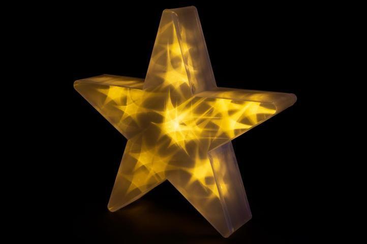 Vianočná hviezda s 3D efektom - 35 cm, 20 LED, teple biela