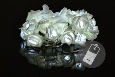 Dekoratívne LED osvetlenie - ruže - 20 LED, studená biela