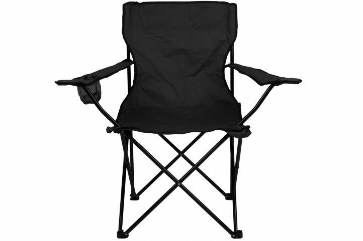 Skladacia kempingová stolička s držiakom nápojov, čierna
