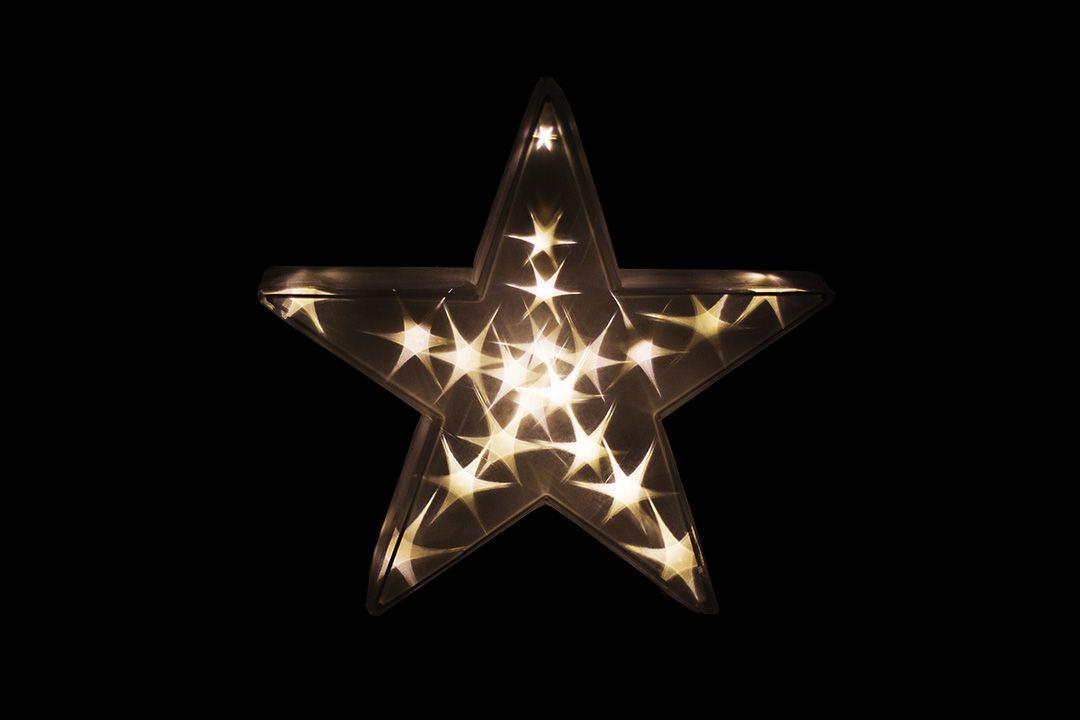 Vianočná dekorácia - 3D hviezda – teplá biela 20 LED, 35 cm