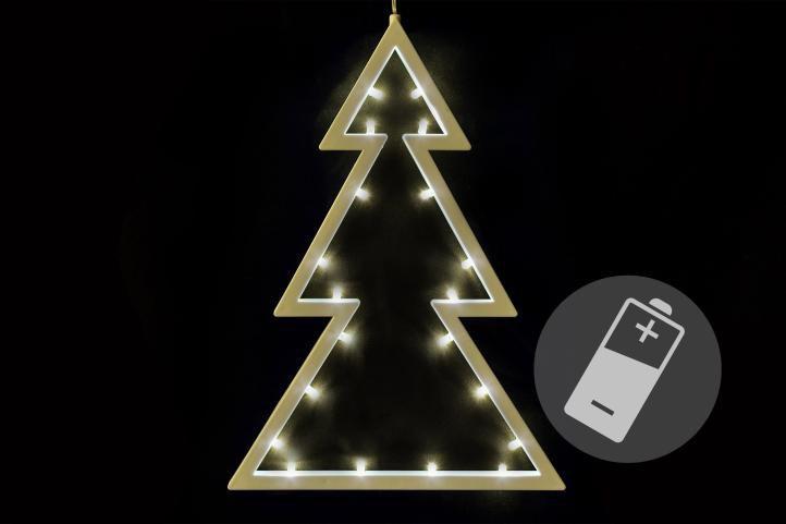 Vianočná dekorácia - stromček - teplá biela, 20 LED, 29,5 cm