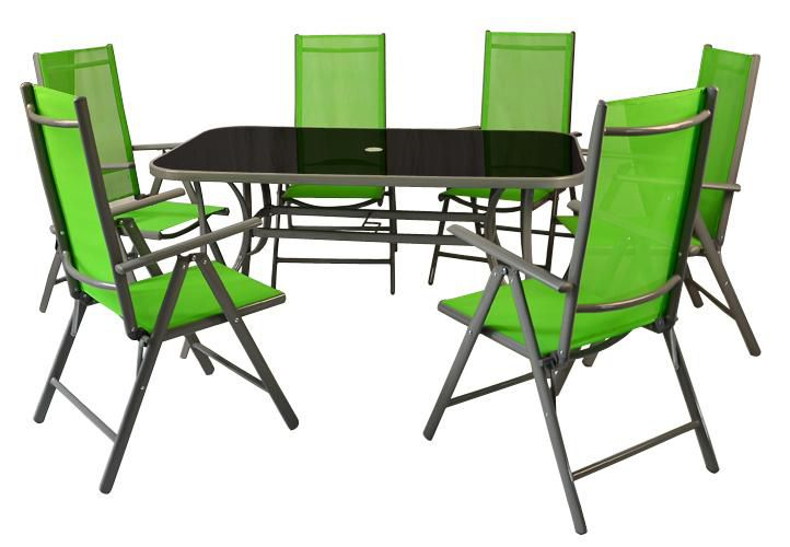 Hliníkový záhradný set - 7 dielov - zelený
