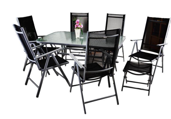 Hliníkový záhradný set - 9 dielov - čierna