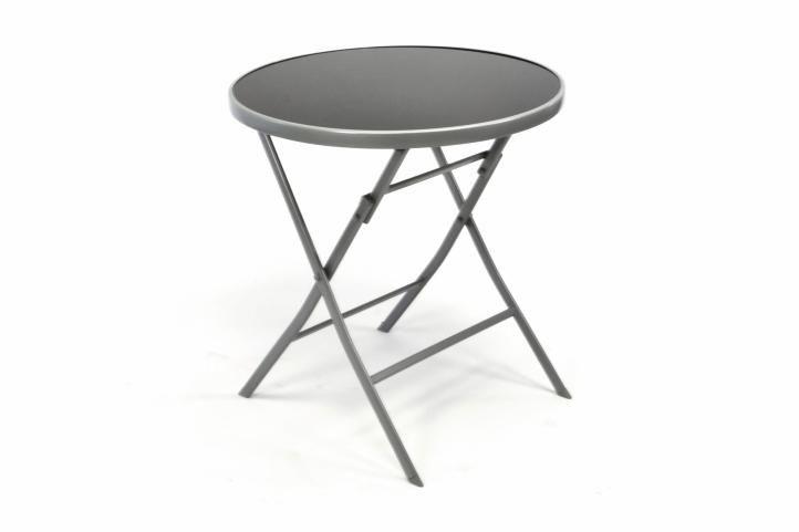 Záhradný bistro stolík sklenený so sklápacou doskou – strieborný
