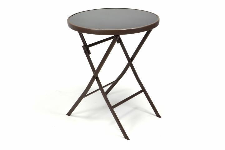 Záhradný bistro stolík sklenený so sklápacou doskou – hnedý
