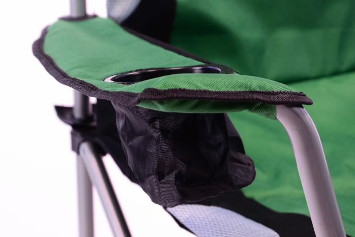 Skladacia kempingová stolička Divero Deluxe – zelená / čierna