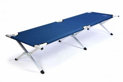 Prenosná hliníková skladacia posteľ DIVERO 210 x 64 x 42 cm – modrá