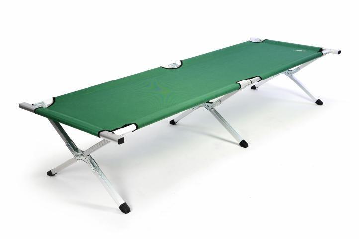 Prenosná hliníková skladacia posteľ DIVERO 210 x 64 x 42 cm – zelená
