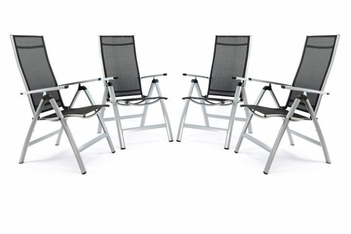 Sada 4 kusy: EXTRA široká luxusná hliníková polohovateľná stolička