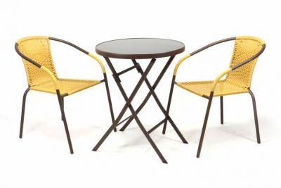 Záhradný set BISTRO 2 stoličky + stolík – béžový polyratan