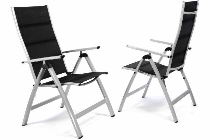 Sada 2 ks luxusných hliníkových polohovateľných čiernych stoličiek