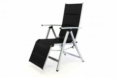DELUXE polohovateľná záhradná stolička s opierkou na nohy