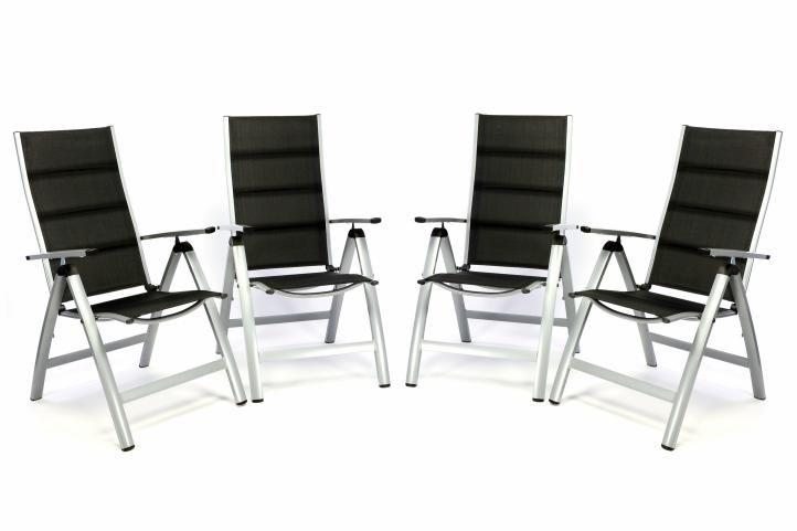 Sada 4 ks luxusných polohovateľných sklápacích stoličiek s polstrovaním – čierne