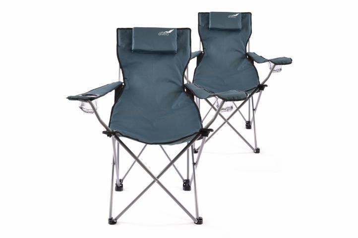 Kempingová sada 2 ks skladacích stoličiek DIVERO - modrá