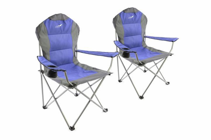 Sada 2 kusy: Divero Deluxe kempingová rybárska skladacia stolička - modro / sivá