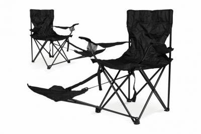 Sada 2 ks skladacích stoličiek Garth s područkami a opierkou na nohy
