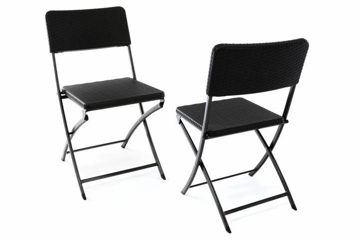 Sada 2 kusy: polyratanová skladacia stolička 80 x 40 cm