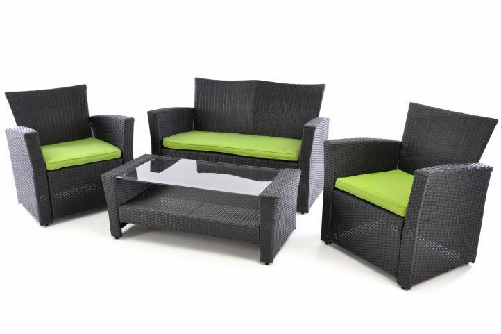 Exkluzívny záhradný set z polyratanu - čierna / zelená