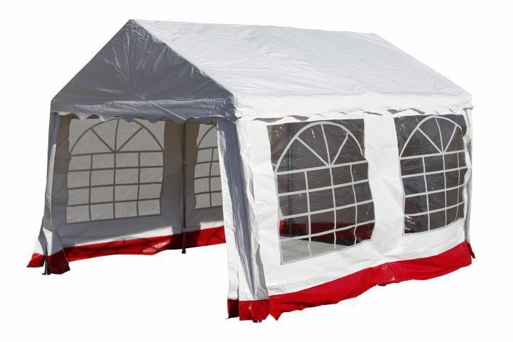 Záhradný párty stan - biely s červeným lemom 3 x 4 m