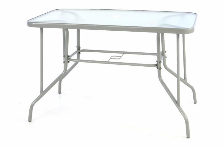 Záhradný obdĺžnikový stôl BISTRO so sklenenou doskou - sivá