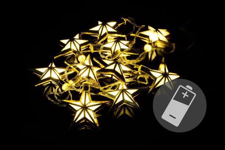 Vianočné LED osvetlenie - hviezdy - teplá biela 10 LED