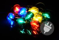Záhradné párty osvetlenie LED - sklenené žiarovky - 5 m farebné